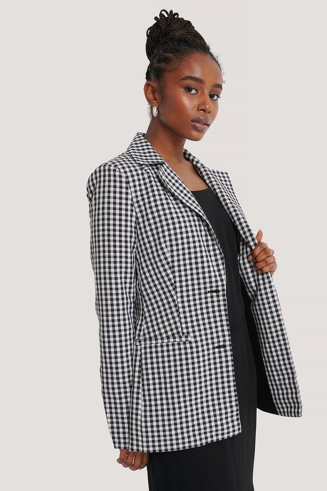 Checkered Fitted Checkered Blazer