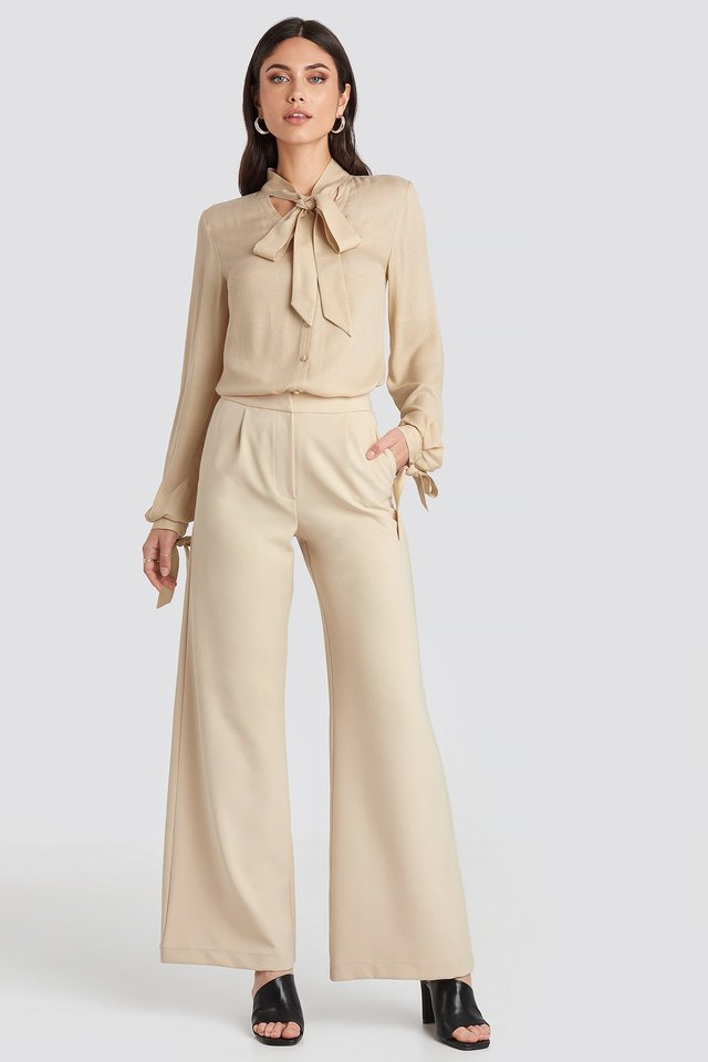 Flared Suit Pants Light Beige