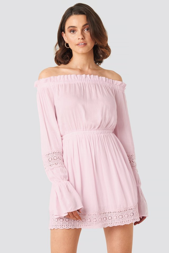 Off Shoulder Lace Detail Frill Dress Dusty Pink