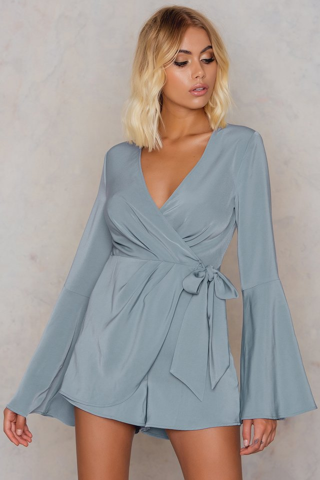 Dusty Blue Grey Overlapped Trumpet Sleeve Playsuit