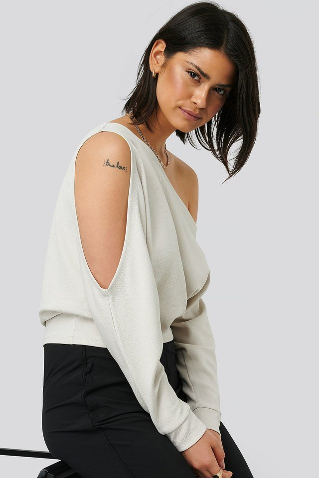Draped Bare Shoulder Top Grey
