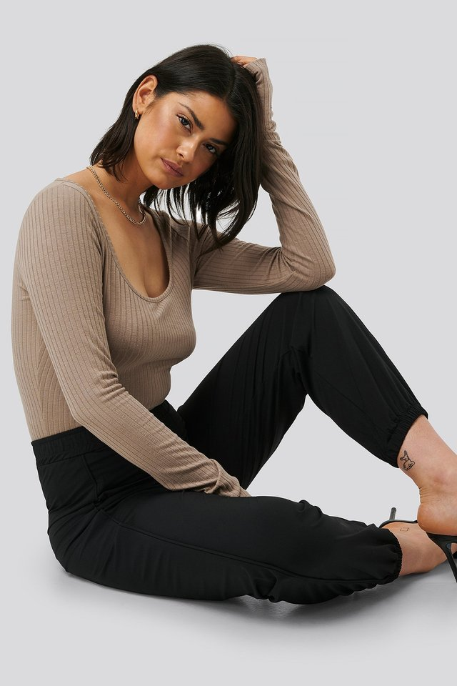 Rib Long Sleeve Top Nougat