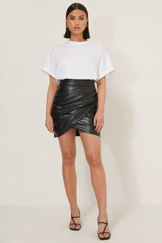 Black Overlap PU Mini Skirt