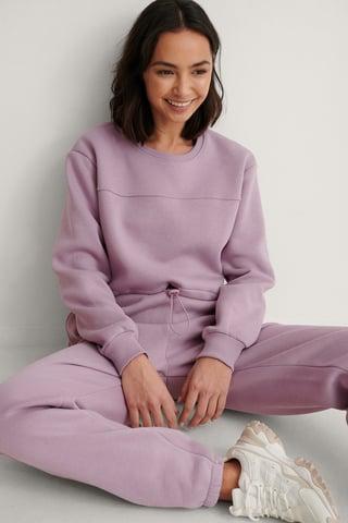 Dusty Lilac Organic Brushed Cropped Sweatshirt