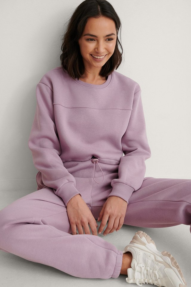 Dusty Lilac Organic Brushed Cropped Sweatshirt