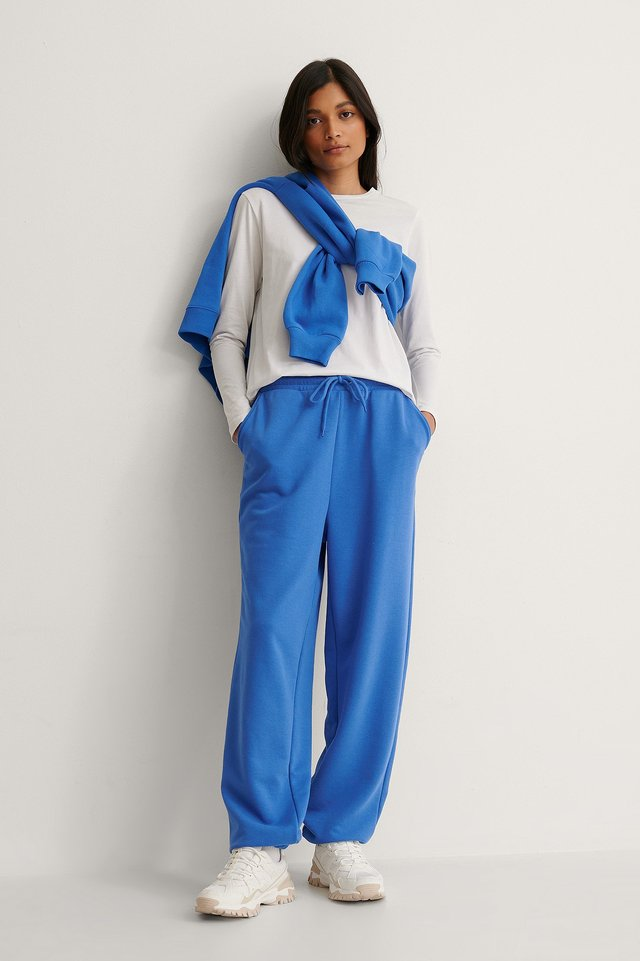 Blue Organic Oversized Drawstring Sweatpants