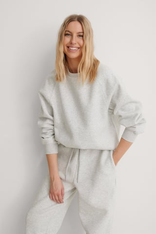 Grey Melange Organic Raglan Sleeve Sweatshirt