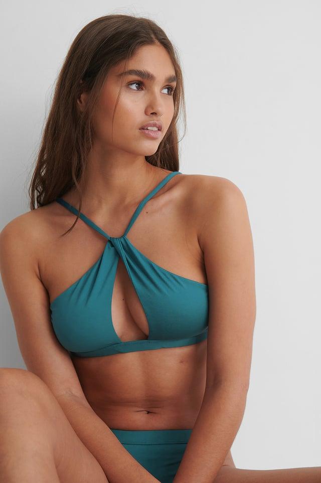 Dark Green Recycled Cut Out Tight Neck Bikini Top