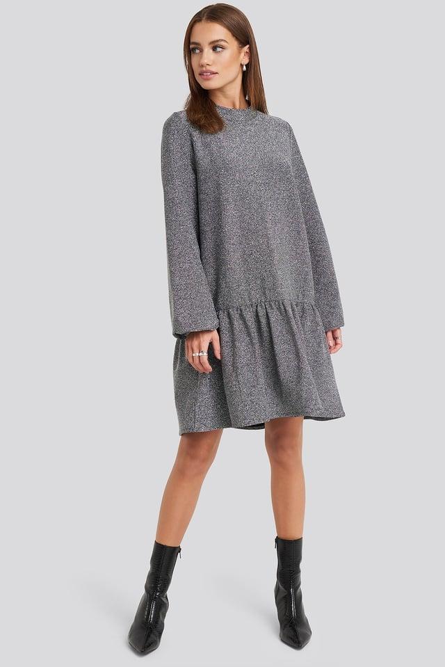 Lurex High Neck Balloon Sleeve Mini Dress Silver Outfit