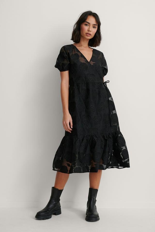 Overlap V-Neck Organza Dress Black