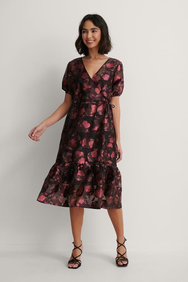 Overlap V-Neck Organza Dress Burgundy Roses