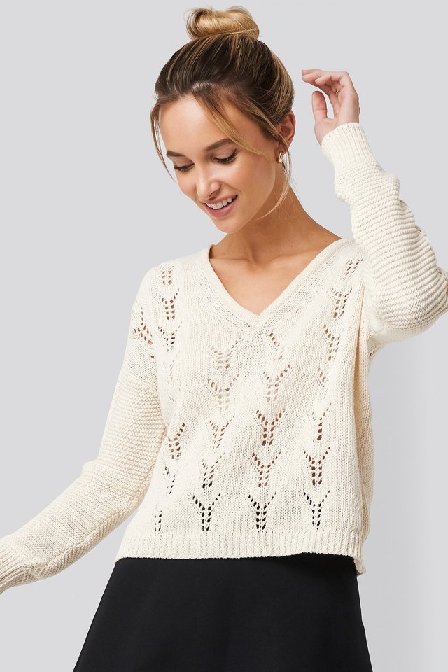 Deep V-Neck Lace Stitch Sweater White