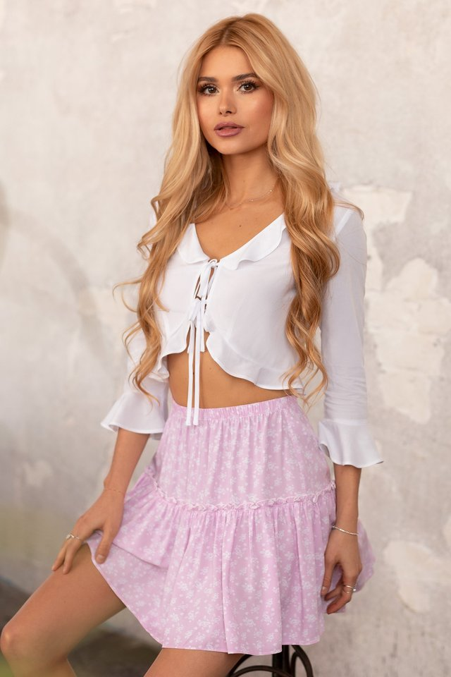 Frill Mini Skirt Pink Flower