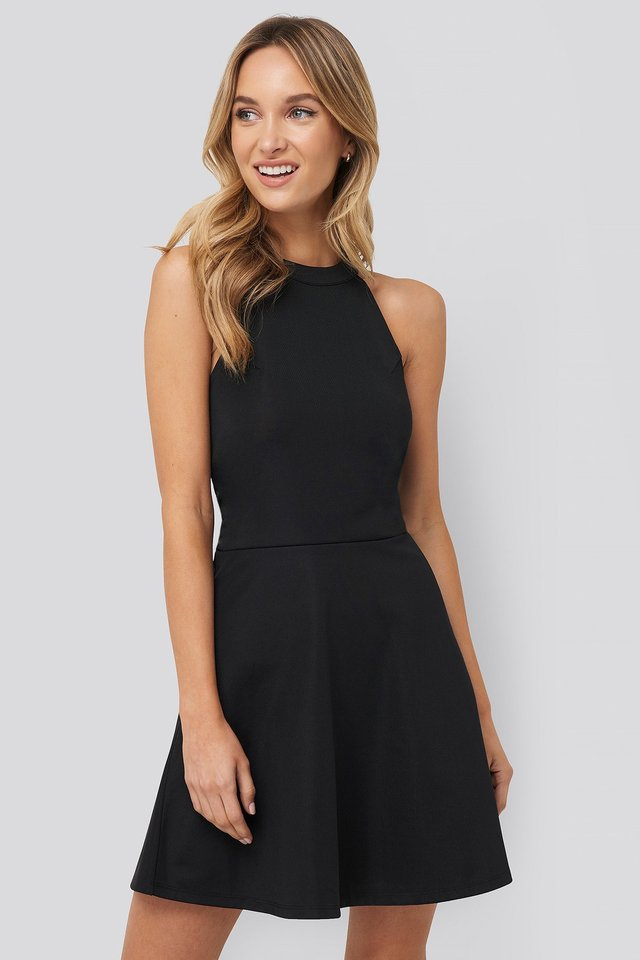 Halter Neck Skater Dress Black