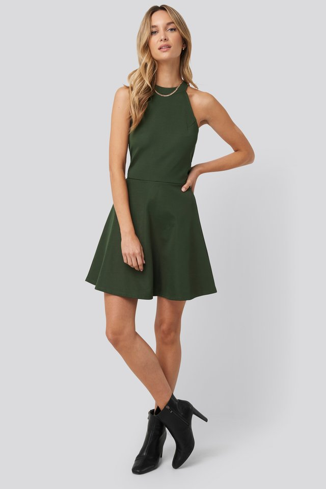 Halter Neck Skater Dress Green