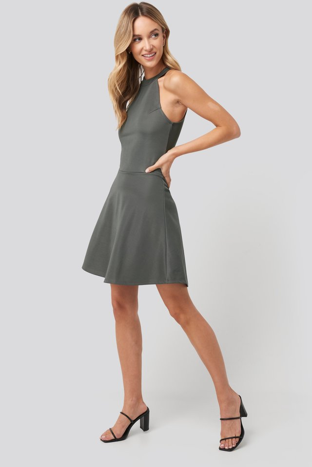 Halter Neck Skater Dress Dark Grey