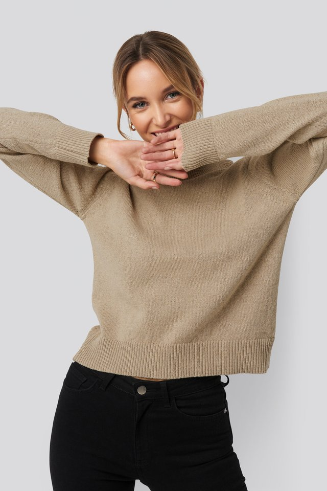 High Neck Sweater Beige