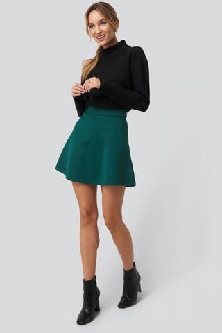Green High Waist Skater Mini Skirt