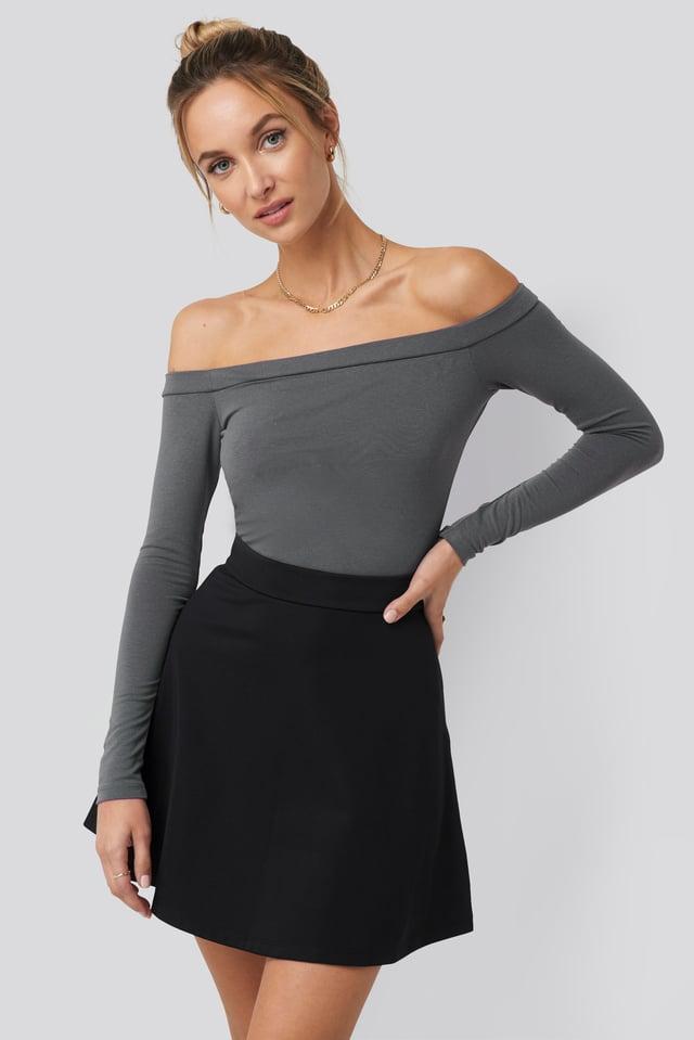 High Waist Skater Mini Skirt Black