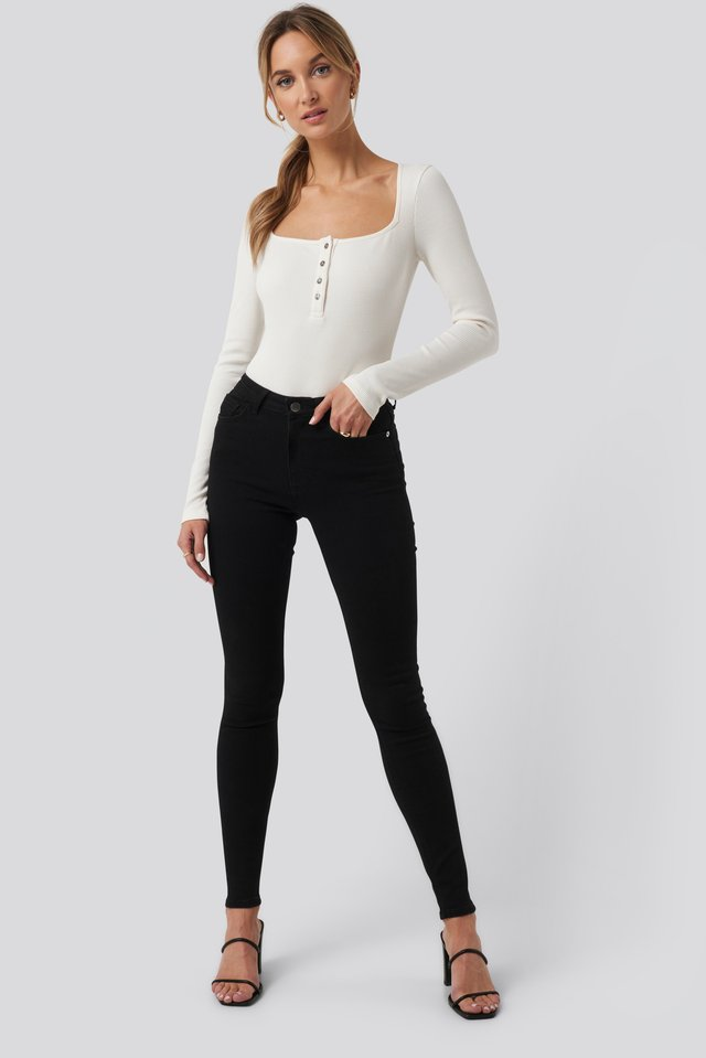 High Waist Skinny Fit Jeans Black