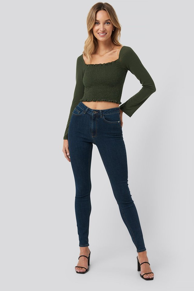 High Waist Skinny Fit Jeans Dark Blue