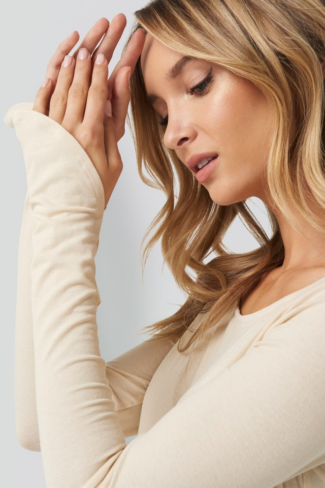 Long Sleeve Boat Neck Crop Top Beige