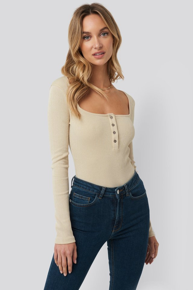 Long Sleeve Button Detail Bodysuit Beige