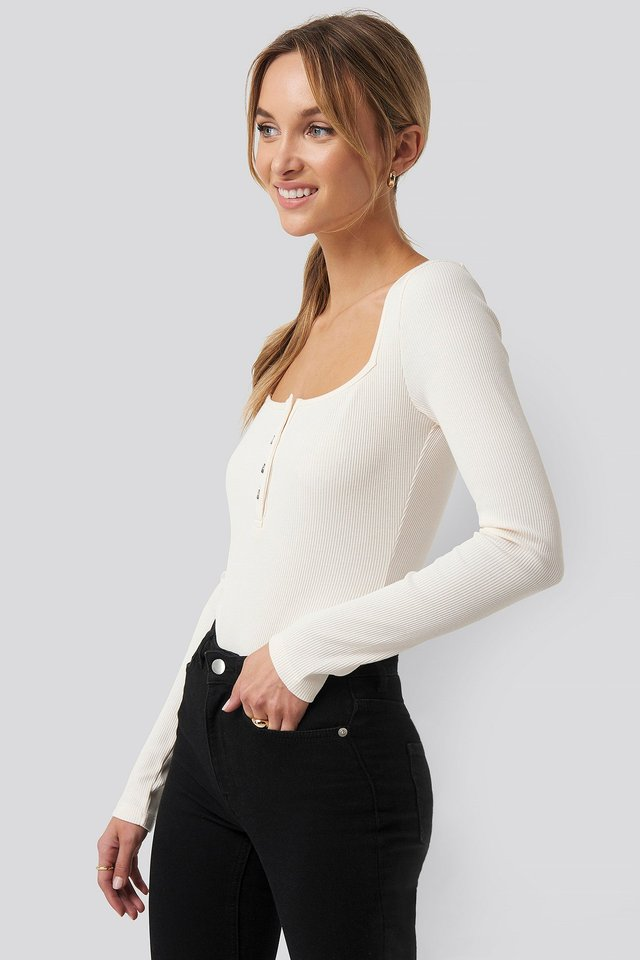 Long Sleeve Button Detail Bodysuit Off White