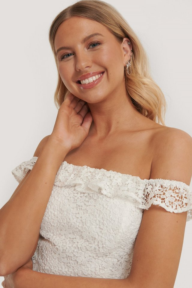 White Recycled Off Shoulder Lace Top