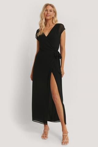 Black Recyklingowana Sukienka O Fasonie Kopertowym