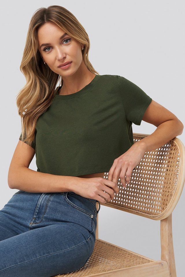 Raw Hem Cropped T-shirt Khaki