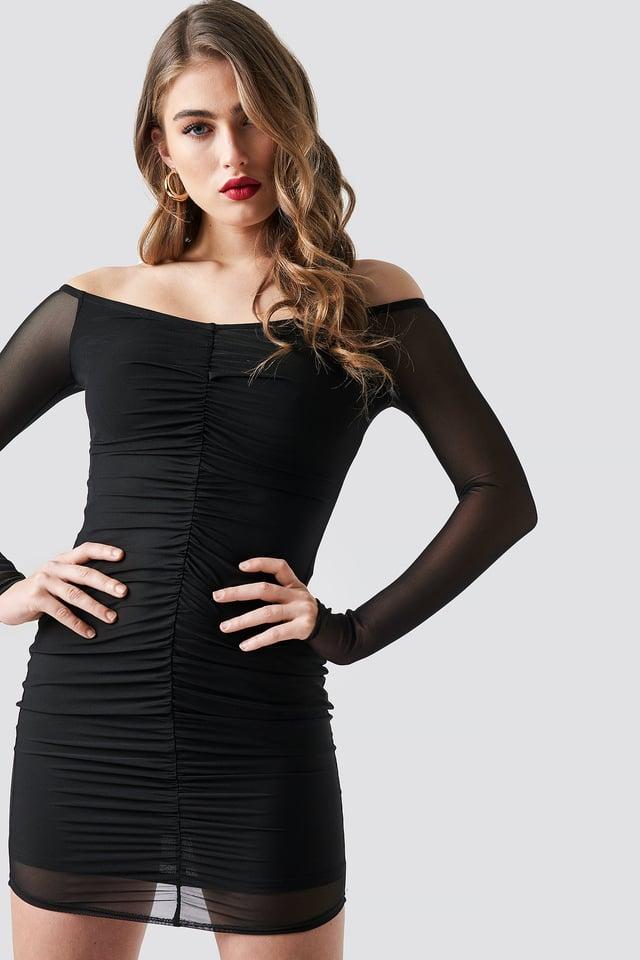 Off Shoulder Ruched Mesh Dress Black
