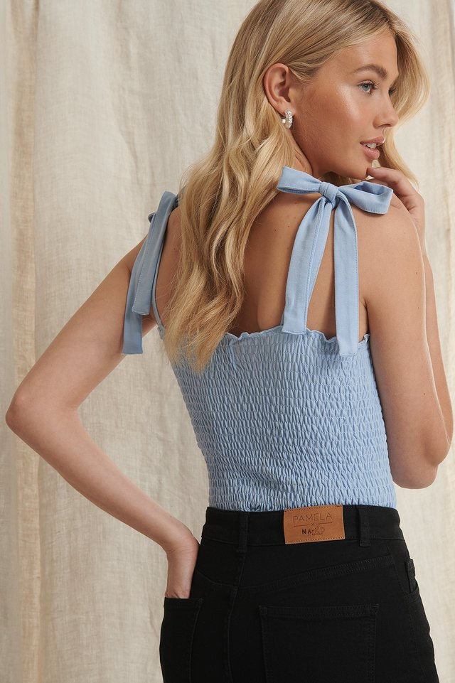 Dusty Blue Recycled Tie Strap Smocked Top
