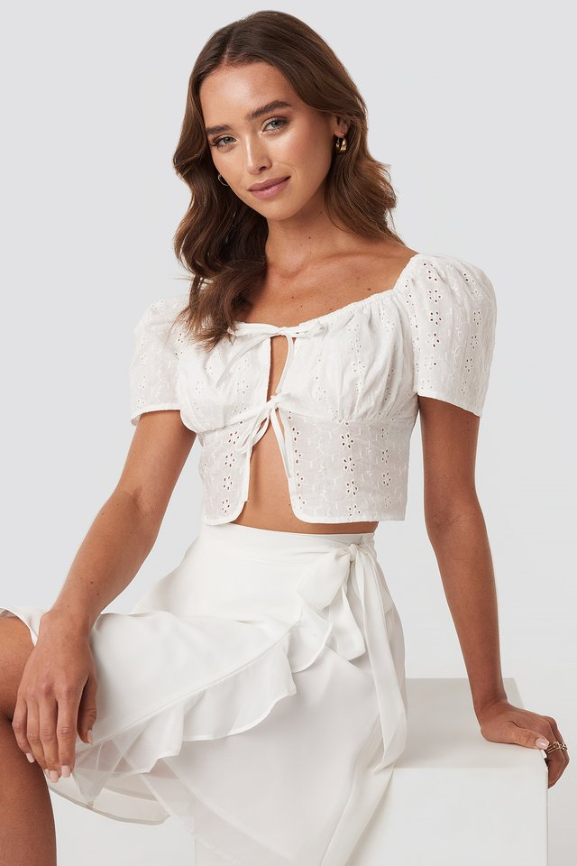 Front Tie Crochet Top White