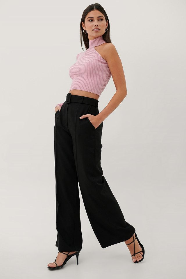 Buckle High Waist Suit Pants Black