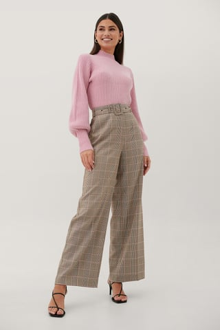 Checked Buckle High Waist Suit Pants