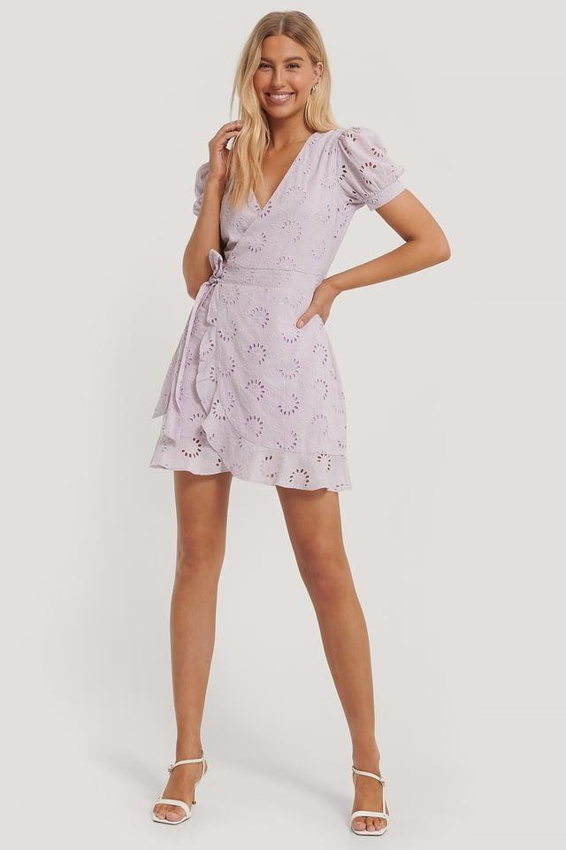 Lilac Crochet Short Sleeve Dress