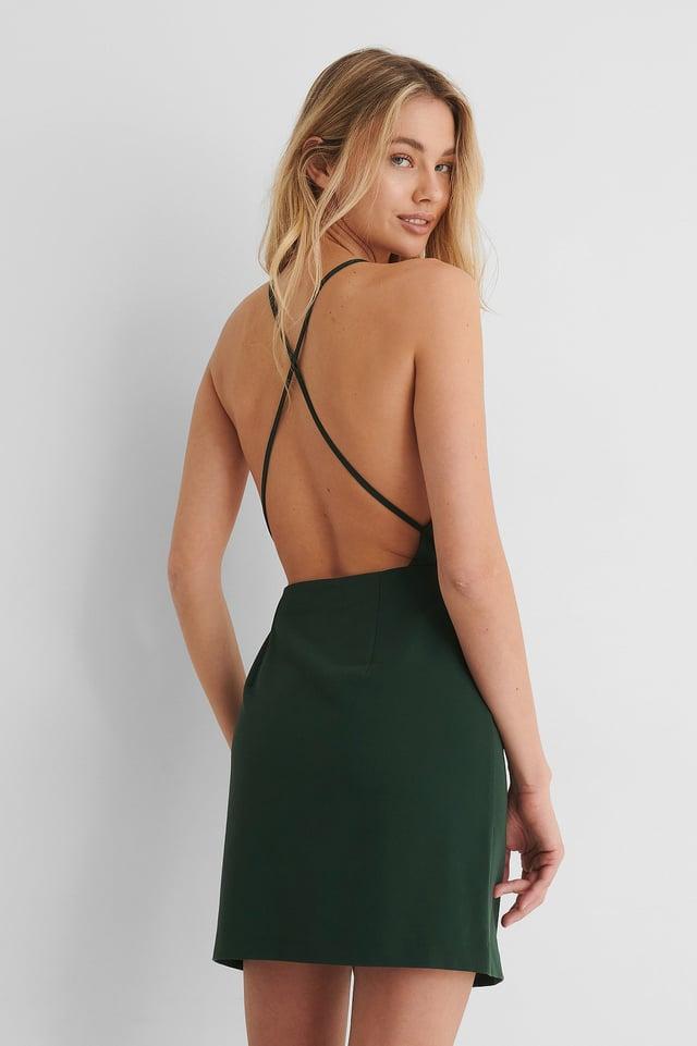 Green Vestido Mini Con Espalda Cruzada