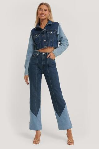 Denim Blue Hohe Taille Weites Bein Jeans