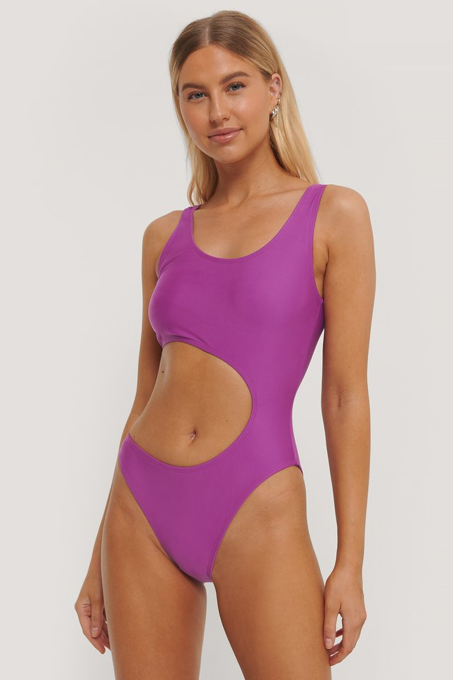 Cerise Cut Out Swimsuit