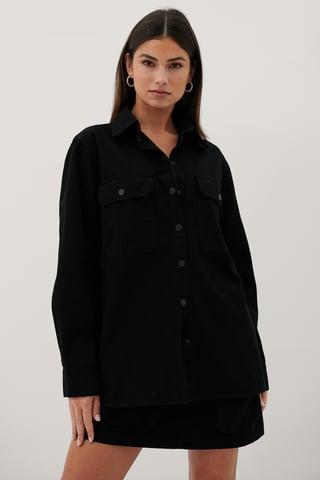 Black Økologisk Denimskjorte Med Lommer