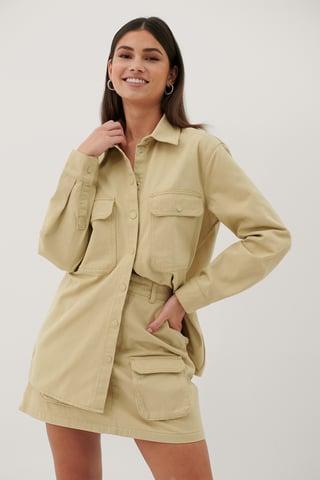 Beige Økologisk Denimskjorte Med Lommer
