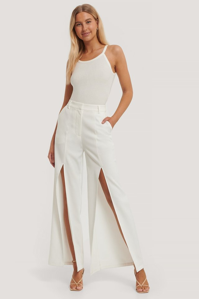 White High Front Slit Trousers