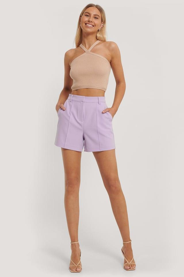Korkeavyötäröiset Shortsit Lilac