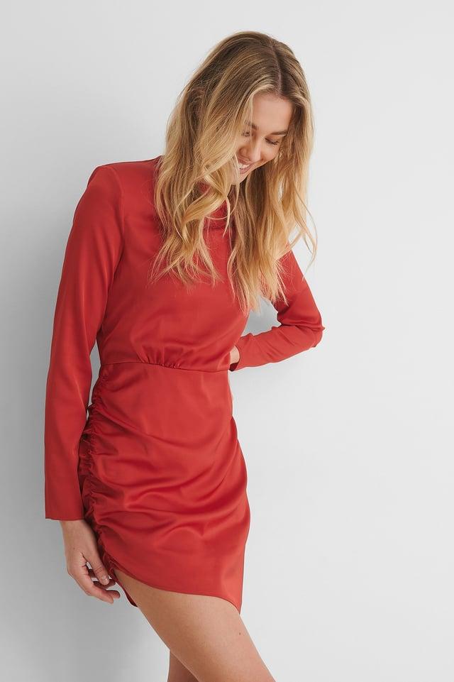 Red Gerecycleerd Mini-jurk Met Schouderdetail