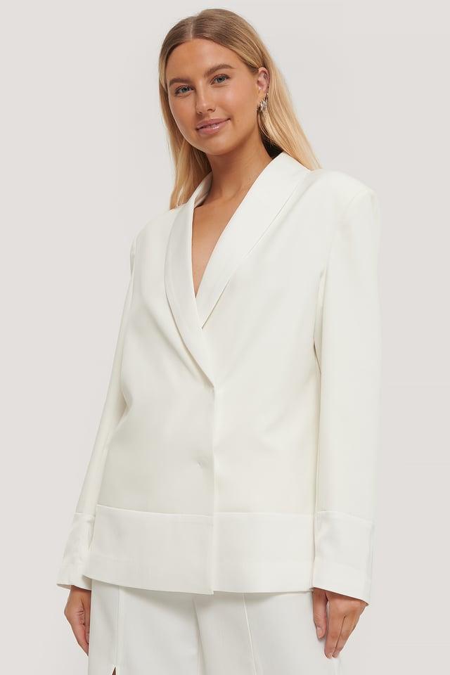 White Oversized Blazer Blouse