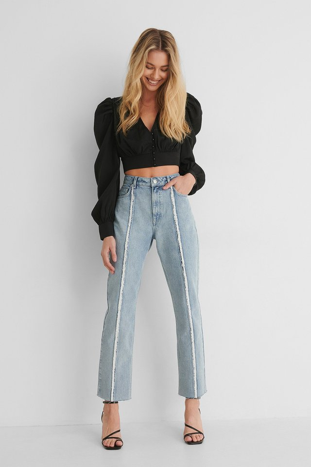 Blue Raw Detail High Waist Denim