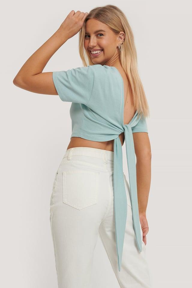T-Shirt Med Knytning Bak Dusty Blue