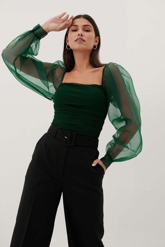 Dark Green Organza Sleeves Top
