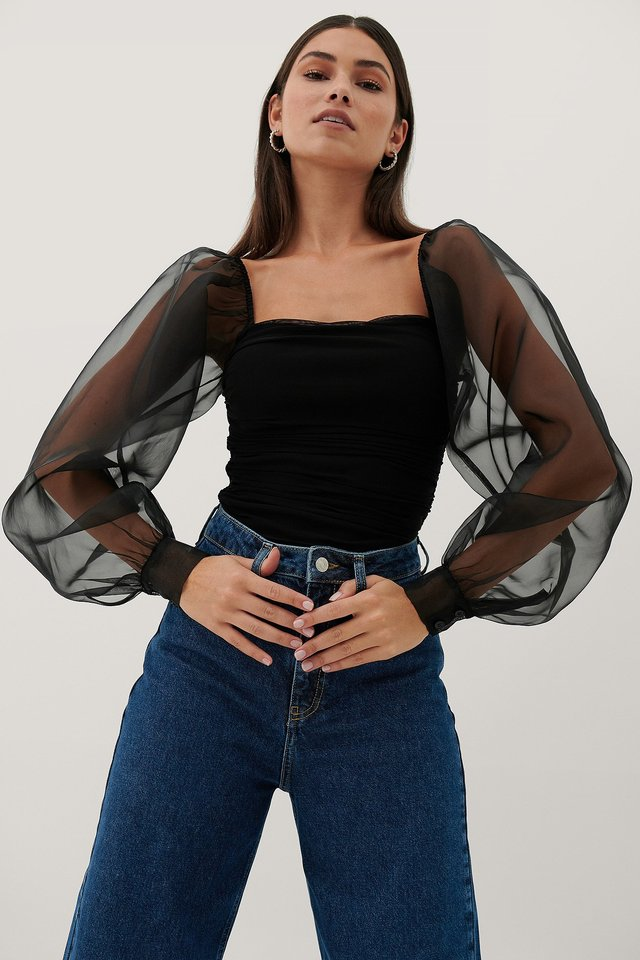 Black Organza Sleeves Top